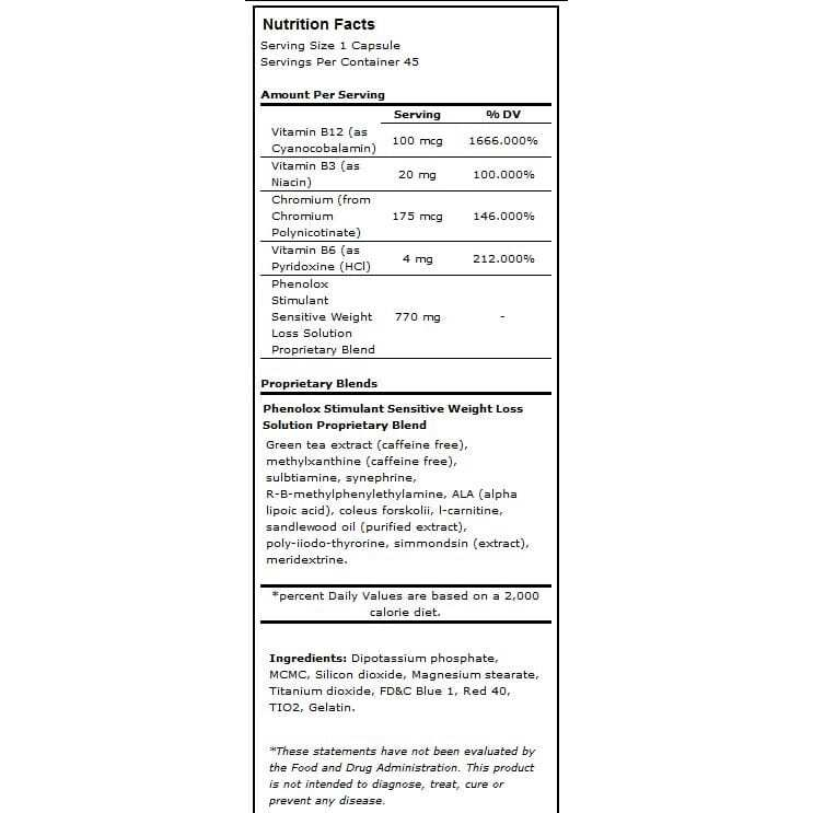 phenolox nutritional information