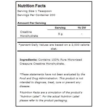 Universal Nutrition Creatine 1000g Nutritional Information