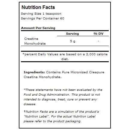Universal Nutrition Creatine 300g Nutritional Information
