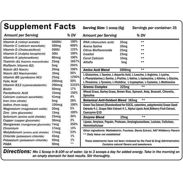 envie nutritional information