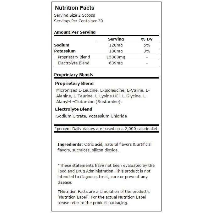 modern bcaa blue raspberry nutritional information