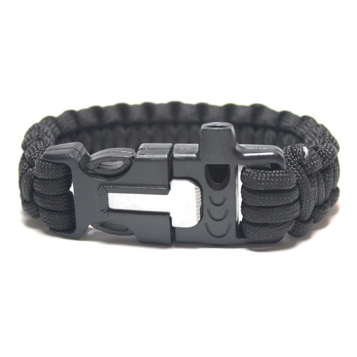 Paracord Survival Bracelet with Fire Starter and Whistle Built In - 10.5 Inch Length-0