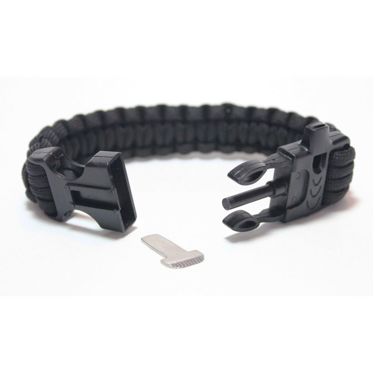 Paracord Survival Bracelet with Fire Starter and Whistle Built In - 9 Inch Length-456