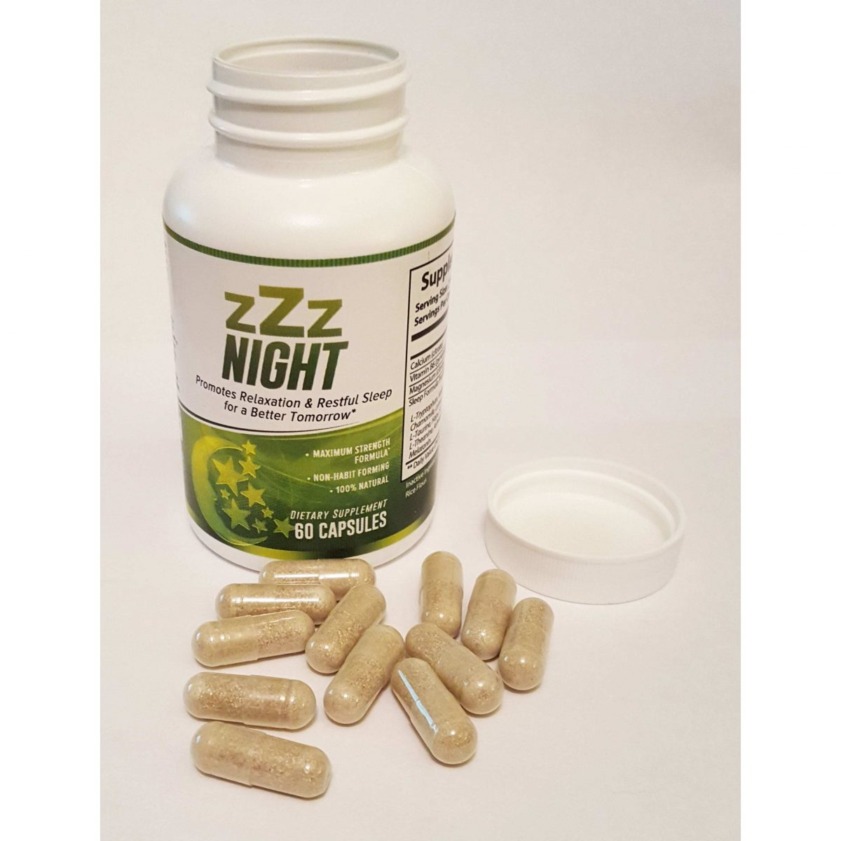 zZz Night Natural Sleep Aid - Non-Habit Sleeping Pills - Promotes Relaxation & Restful Sleep for a Better Tomorrow - 60 Capsules-651