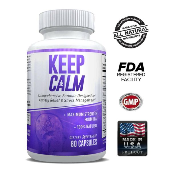 Keep Calm - Anxiety Support Supplement - Comprehensive Formula for Anxiety Relief & Stress Management in Men & Women - 30 Servings-0