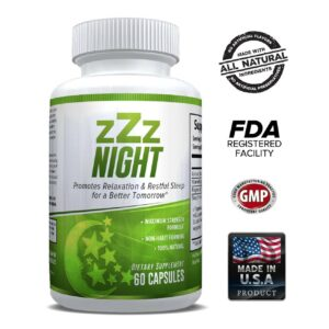 zZz Night Natural Sleep Aid - Non-Habit Sleeping Pills - Promotes Relaxation & Restful Sleep for a Better Tomorrow - 60 Capsules-0