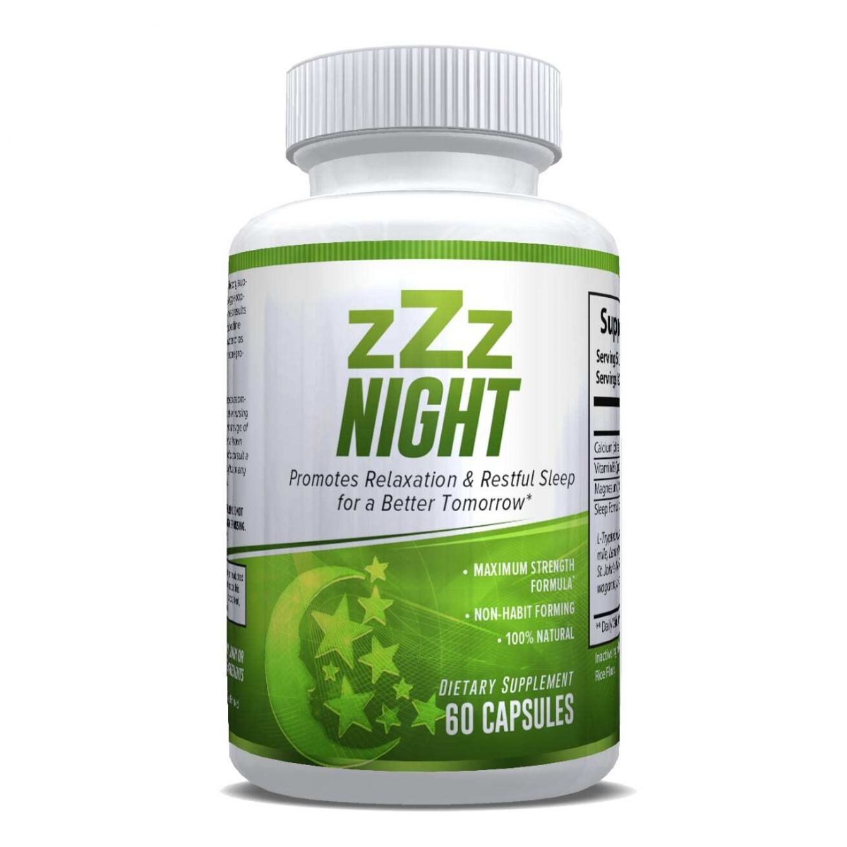zZz Night Natural Sleep Aid - Non-Habit Sleeping Pills - Promotes Relaxation & Restful Sleep for a Better Tomorrow - 60 Capsules-650