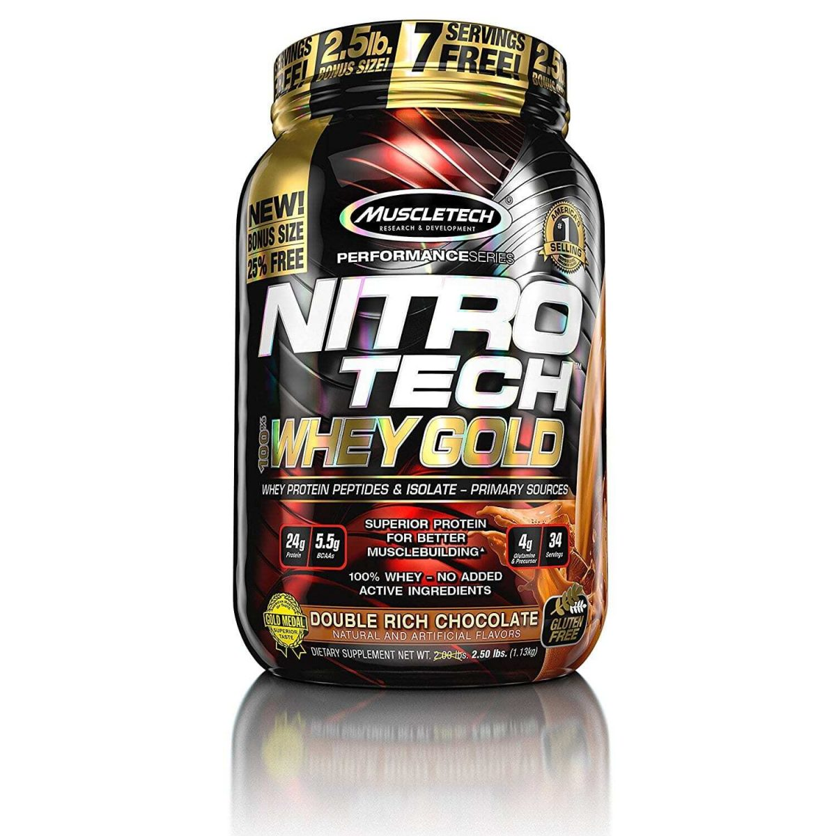 MuscleTech Performance Series Nitro-Tech 100% Whey Gold - Double Rich Chocolate - 35 Servings