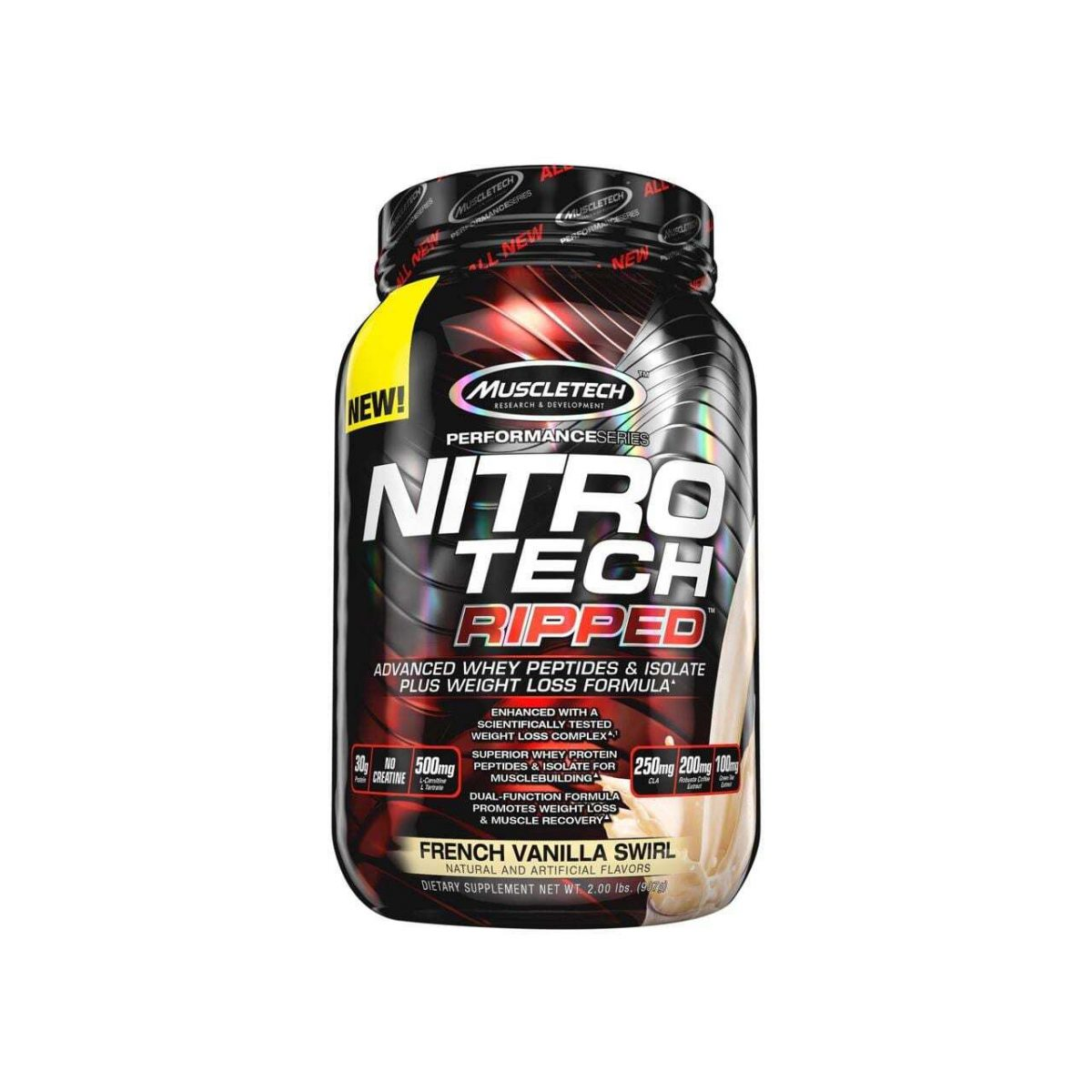 MuscleTech Performance Series Nitro Tech Ripped - French Vanilla Swirl - 2 lbs