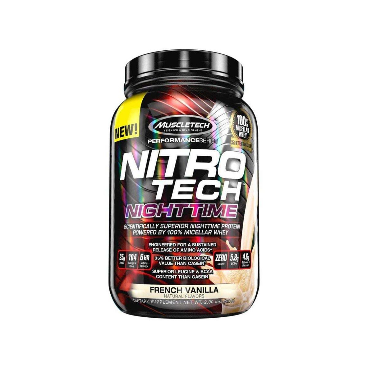 MuscleTech Performance Series Nitro-Tech Night Time - French Vanilla - 2 lbs (907g)