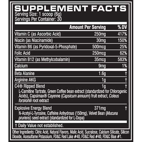 Cellucor C4 Ripped - Icy Blue Razz - 30 Servings-1814