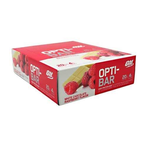 Optimum Nutrition Opti-Bar - White Chocolate Raspberry - 12 - 2.1 oz (60G) Bars