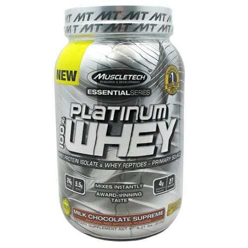 MuscleTech Essential Series 100% Platinum Whey - Milk Chocolate Supreme - 2 lbs (910g)