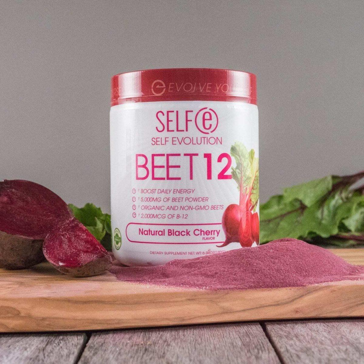 Selfe Beet 12 - Beetroot Powder Supplement Plus Vitamin B12 - Black Cherry - 30 Servings-2594