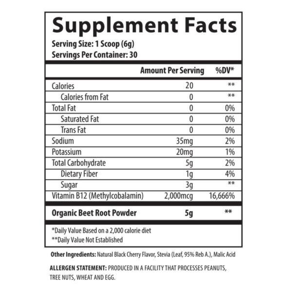 Selfe Beet 12 - Beetroot Powder Supplement Plus Vitamin B12 - Black Cherry - 30 Servings-2596