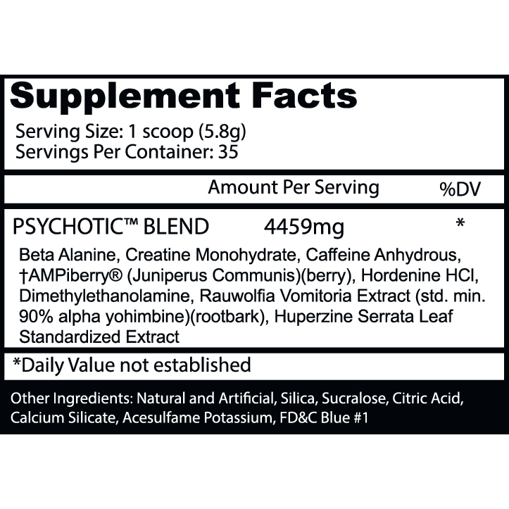 Psychotic Pre Workout by Insane Labz - Mixed Berry - 35 Servings-2860