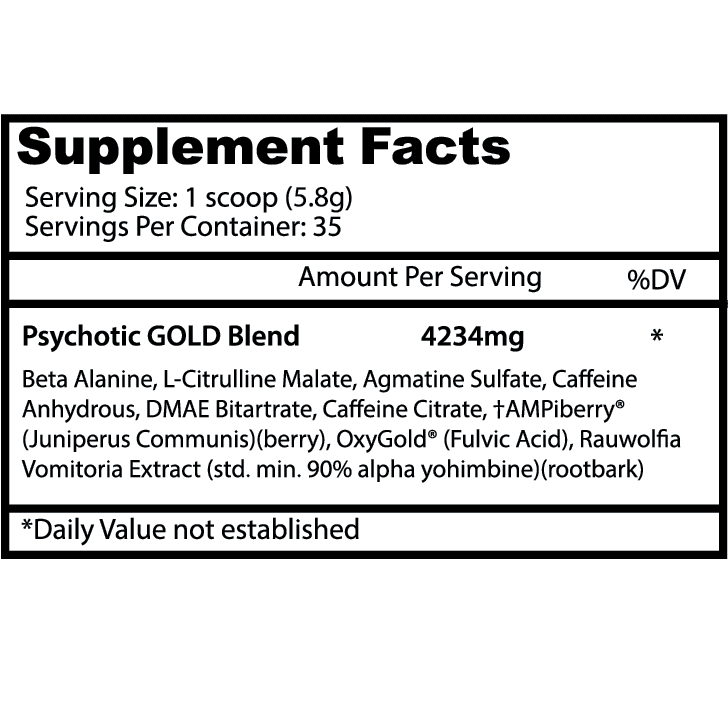 Psychotic Gold Pre Workout - Fruit Punch - 35 Servings - Insane Labz-2982