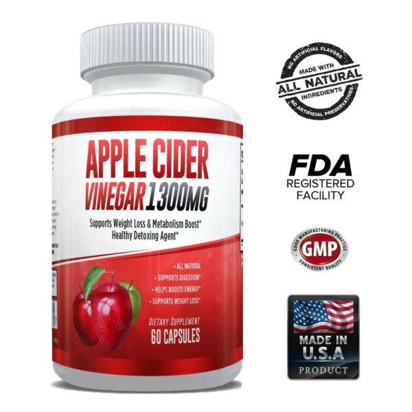 Apple Cider Vinegar Pills - 1300mg - 60 Capsules-0