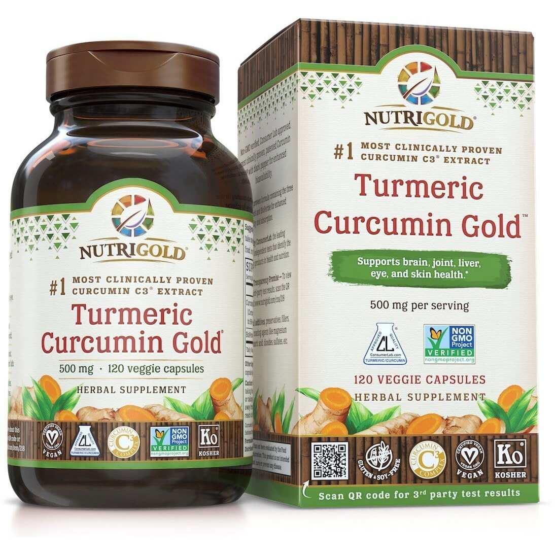 Nutrigold Turmeric Curcumin Gold - 500mg - 120 Veggie Caps-0
