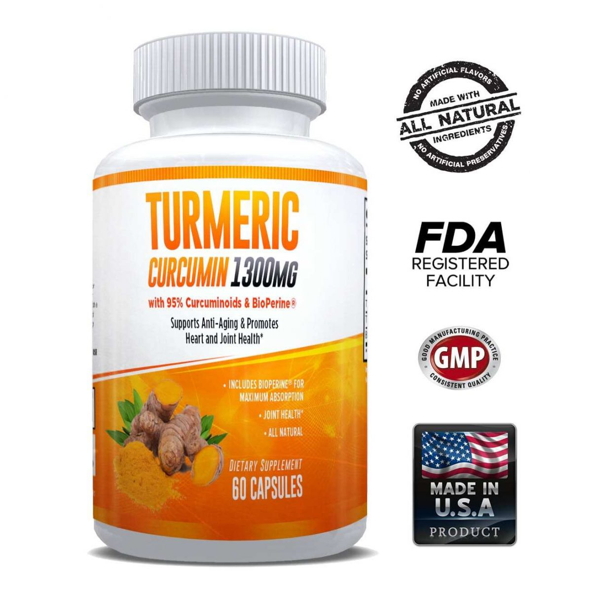 Natural Turmeric Curcumin (95%) 1300mg Supplement - 60 Capsules-0