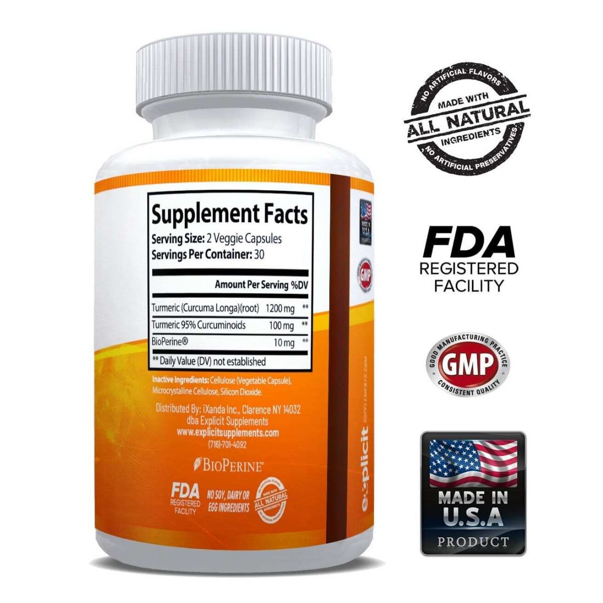 Natural Turmeric Curcumin (95%) 1300mg Supplement - 60 Capsules-3029