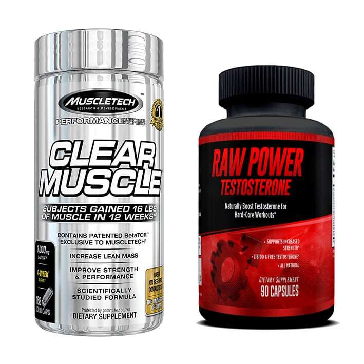 Clear Muscle (168 Capsules) & Raw Power (90 Capsules) - Superior Muscle Building Stack-0