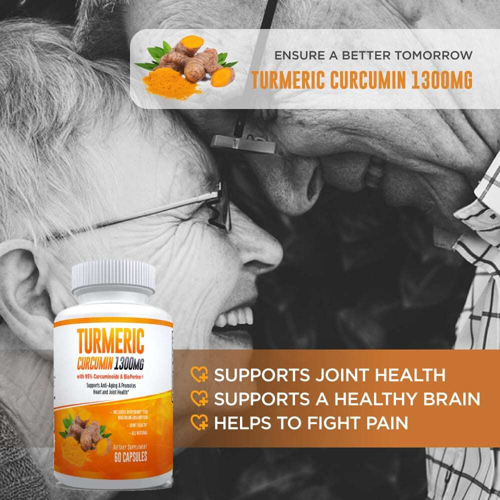 Natural Turmeric Curcumin (95%) 1300mg Supplement - 60 Capsules-3036