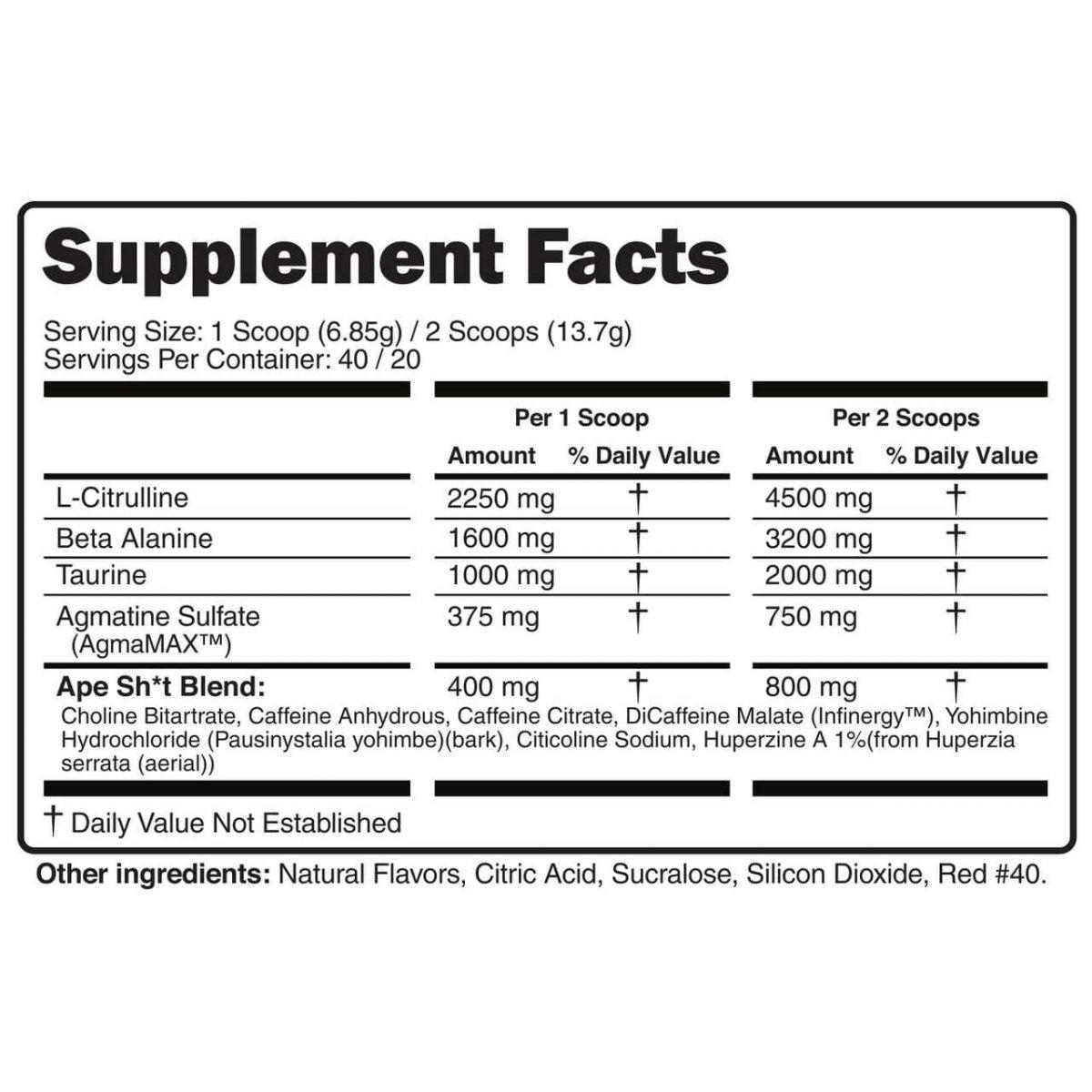 Primeval Labs Ape Sh*t Untamed - Pre-Workout - Strawberry Lemonade - 20/40 Servings-3121