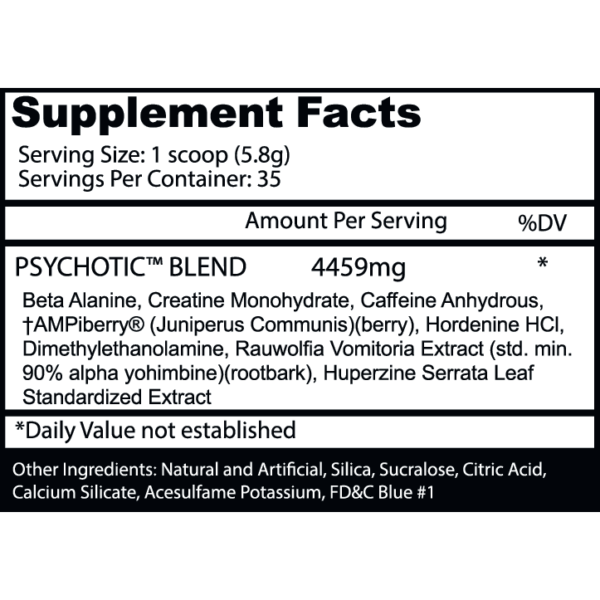 Psychotic Pre Workout by Insane Labz - Fruit Punch - 35 Servings-3191