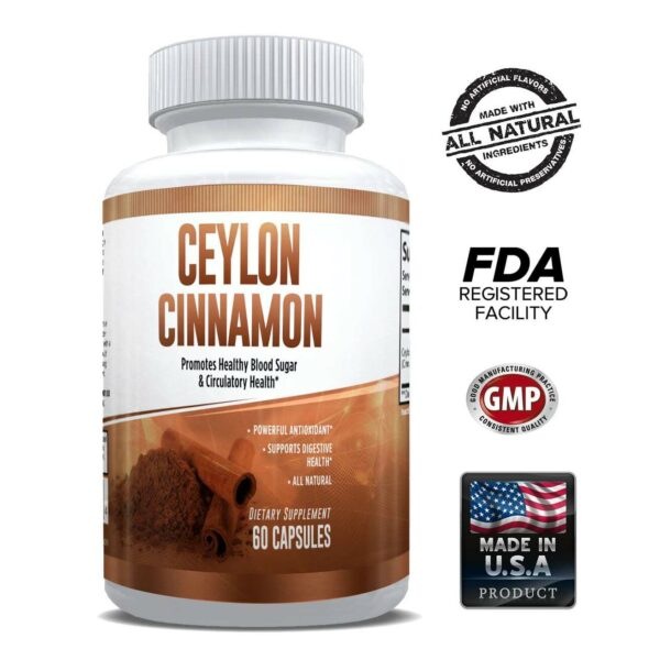 Pure Ceylon Cinnamon Capsules 1200mg – Superfood Antioxidant & Anti-Inflammatory for Men & Women - 1 Month-0