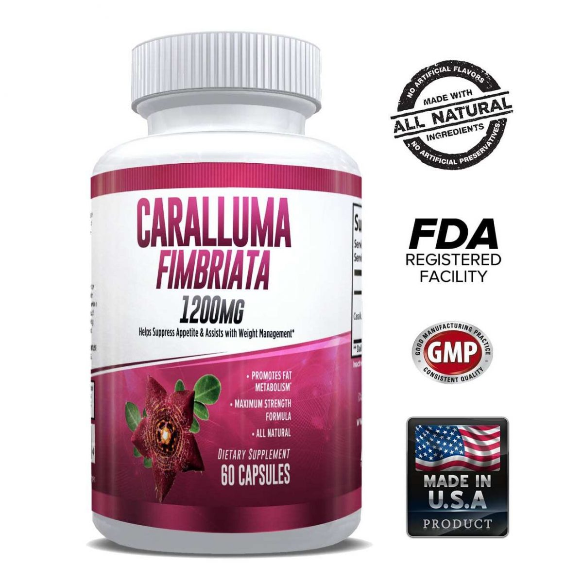 Pure Caralluma Fimbriata 1200mg Max Strength – Appetite Suppressant, Increase Fat Burn, Weight Loss Supplement, Non-Stim - for Men & Women - 1 Month-0