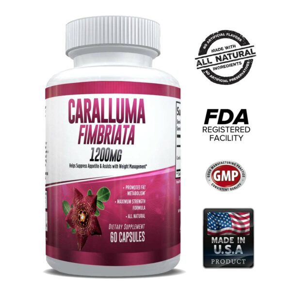 Pure Caralluma Fimbriata 1200mg Max Strength – Appetite Suppressant, Increase Fat Burn, Weight Loss Supplement, Non-Stim - for Men & Women - 1 Month-0