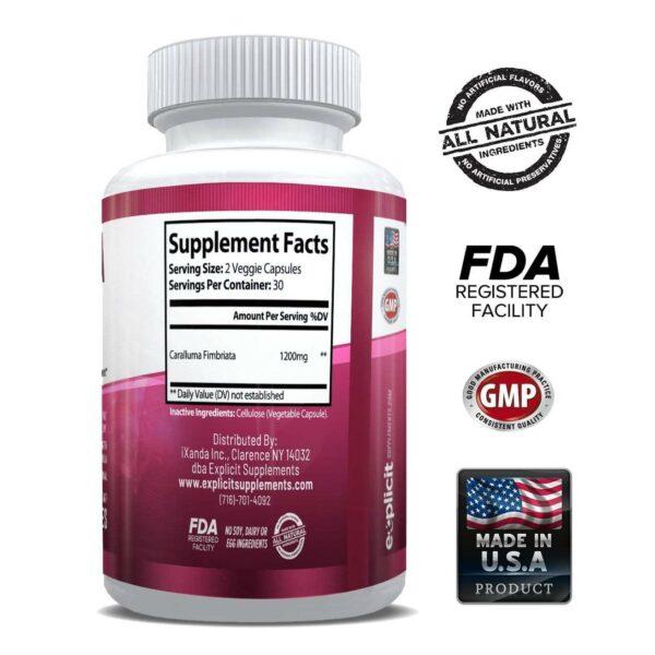 Pure Caralluma Fimbriata 1200mg Max Strength – Appetite Suppressant, Increase Fat Burn, Weight Loss Supplement, Non-Stim - for Men & Women - 1 Month-3204