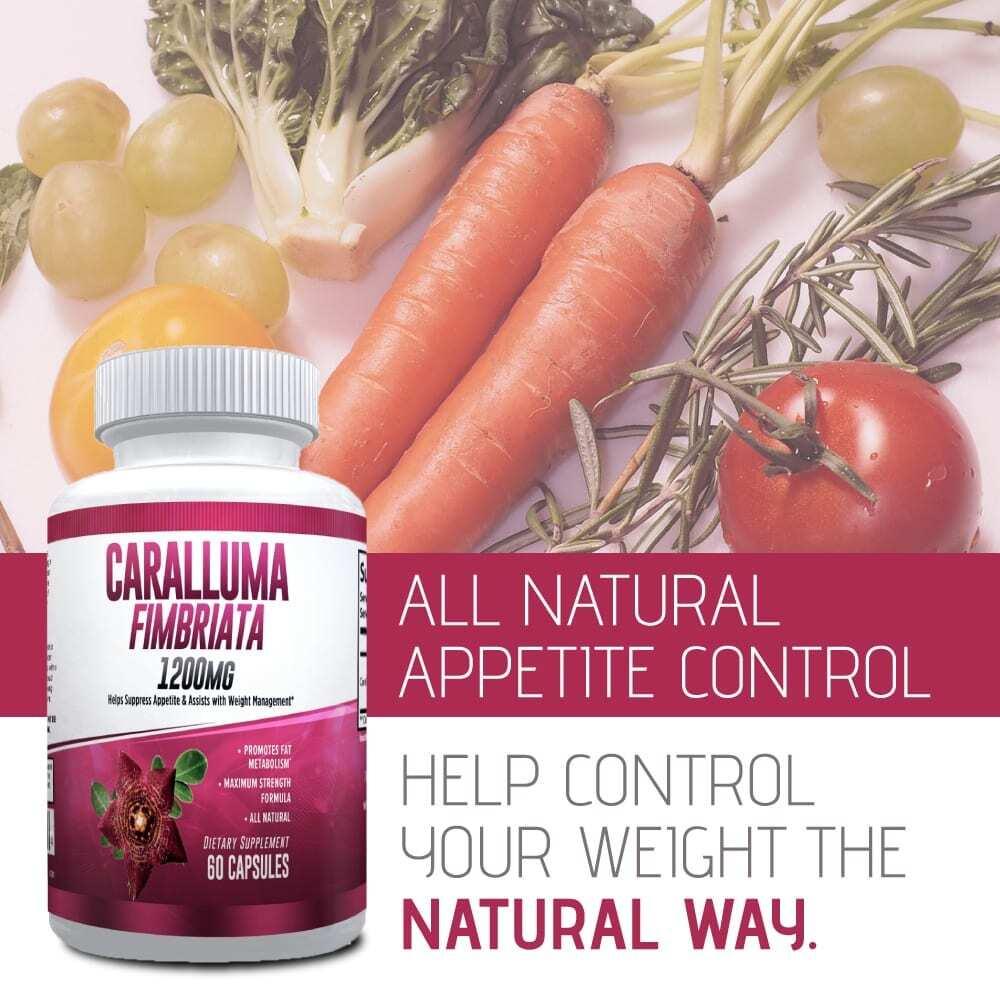 Pure Caralluma Fimbriata 1200mg Max Strength – Appetite Suppressant, Increase Fat Burn, Weight Loss Supplement, Non-Stim - for Men & Women - 1 Month-3203