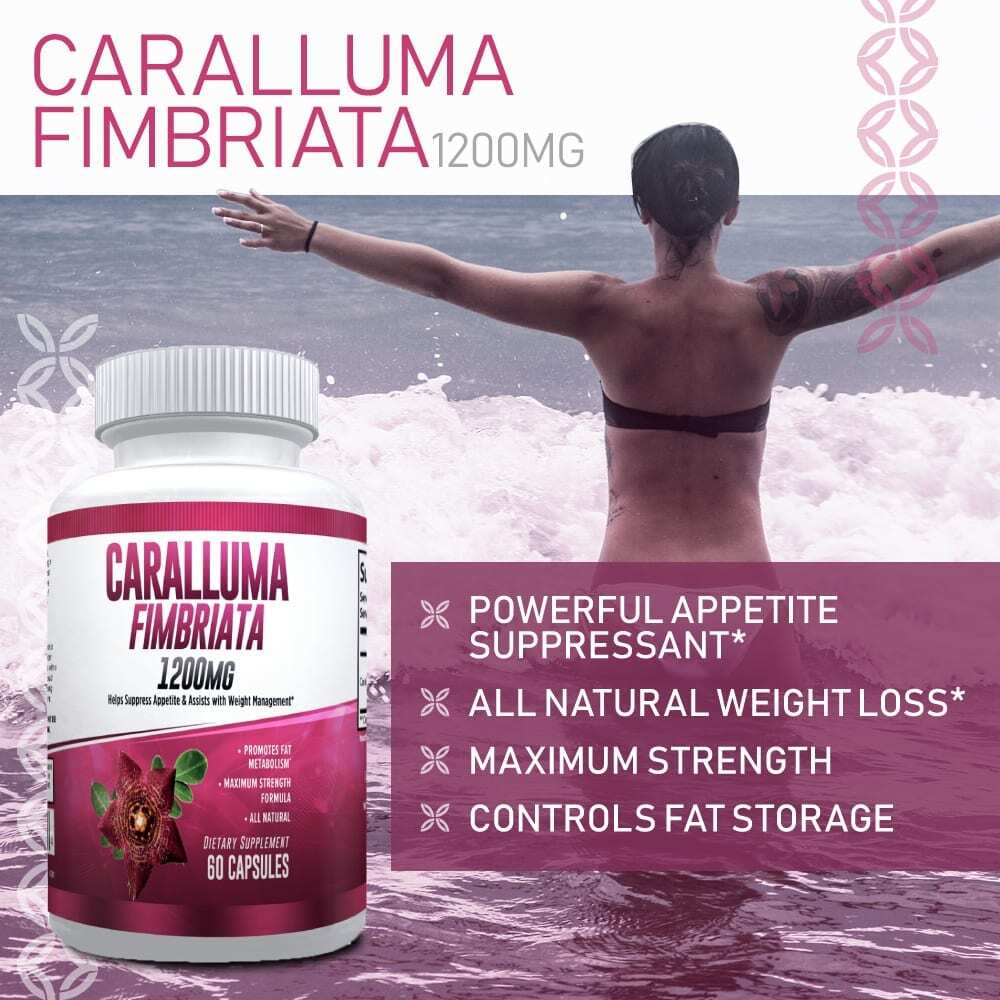 Pure Caralluma Fimbriata 1200mg Max Strength – Appetite Suppressant, Increase Fat Burn, Weight Loss Supplement, Non-Stim - for Men & Women - 1 Month-3202
