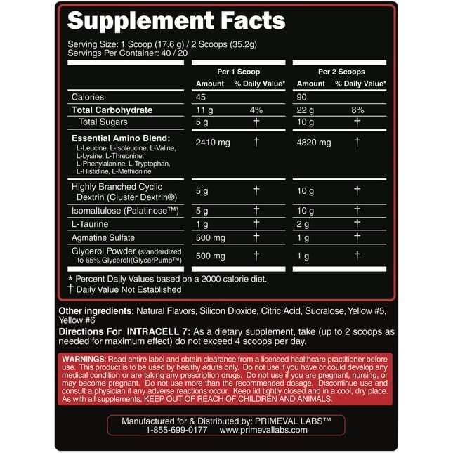 Primeval Labs Intracell 7 - Watermelon - 20/40 Servings-3217