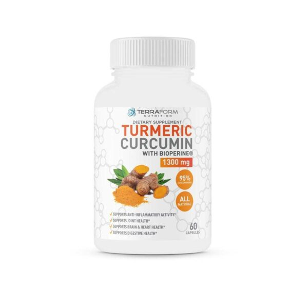 Turmeric Curcumin Root 1300mg with BioPerine & 95% Curcuminoids – Supports Joint & Knee Pain Relief, Brain Health, Heart Health & Digestive Health - Anti-Inflammatory and Antioxidant - 1 Month – Money Back Guarantee - TerraForm Nutrition-0