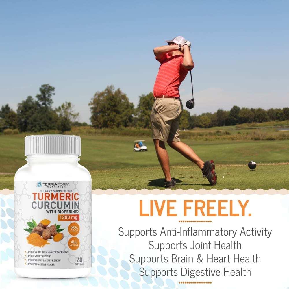 Turmeric Curcumin Root 1300mg with BioPerine & 95% Curcuminoids – Supports Joint & Knee Pain Relief, Brain Health, Heart Health & Digestive Health - Anti-Inflammatory and Antioxidant - 1 Month – Money Back Guarantee - TerraForm Nutrition-3236