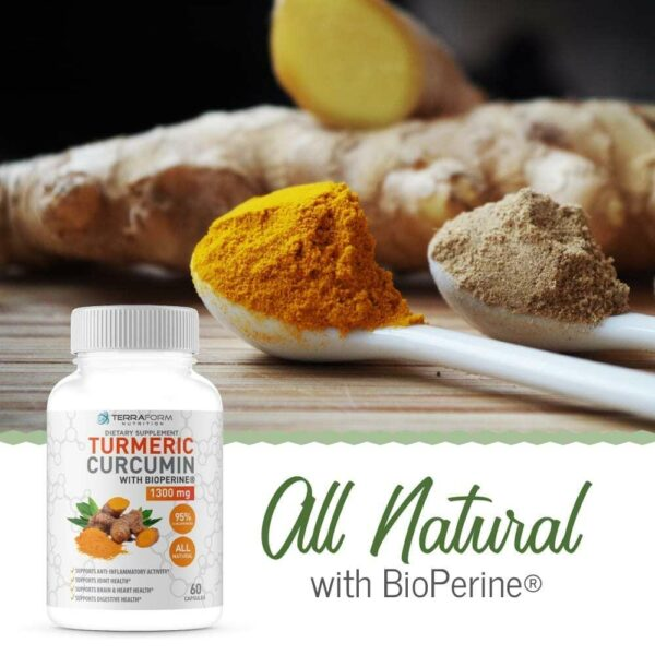 Turmeric Curcumin Root 1300mg with BioPerine & 95% Curcuminoids – Supports Joint & Knee Pain Relief, Brain Health, Heart Health & Digestive Health - Anti-Inflammatory and Antioxidant - 1 Month – Money Back Guarantee - TerraForm Nutrition-3237