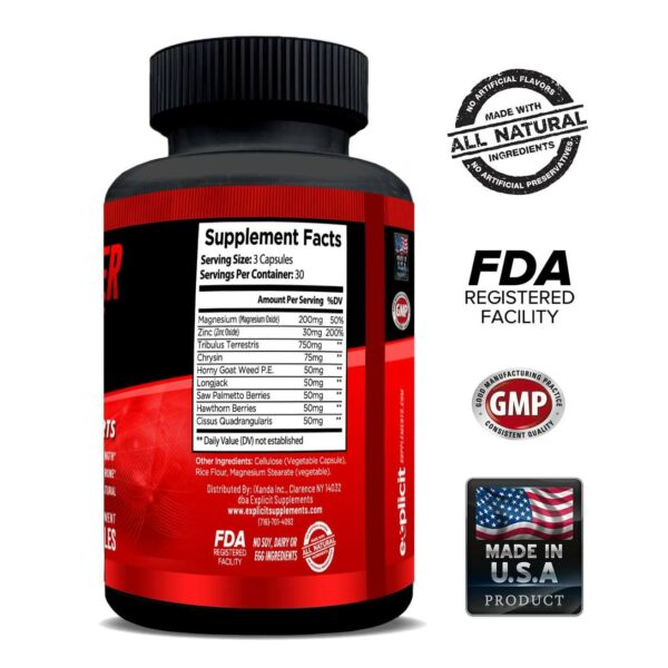 Raw Power Testosterone Booster - 90 Capsules - 30 Servings By Explicit Supplements-3221