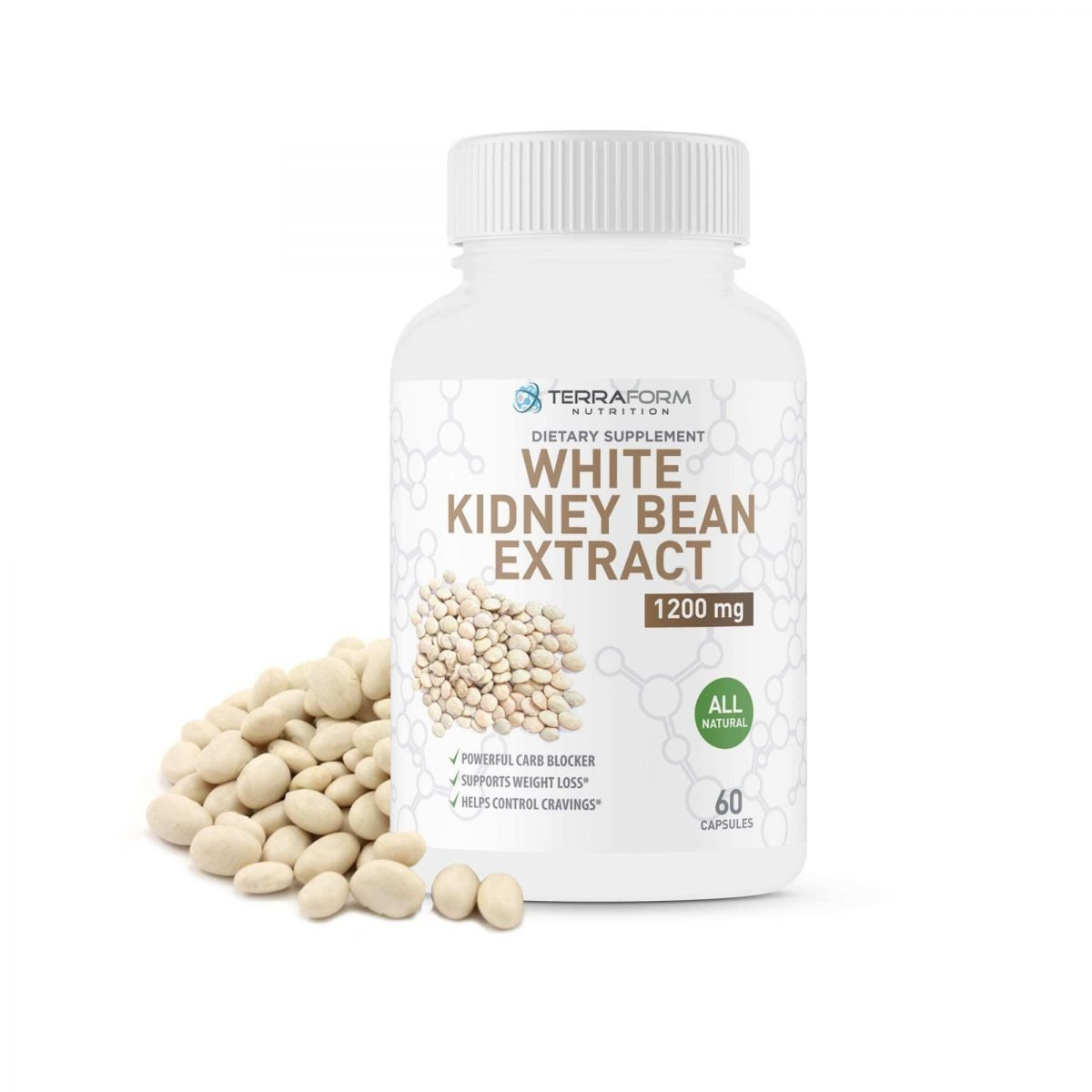 100% Pure White Kidney Bean Extract –1200mg - 60 Capsules - TerraForm Nutrition-0