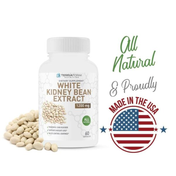 100% Pure White Kidney Bean Extract –1200mg - 60 Capsules - TerraForm Nutrition-3248