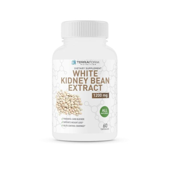 100% Pure White Kidney Bean Extract –1200mg - 60 Capsules - TerraForm Nutrition-3251