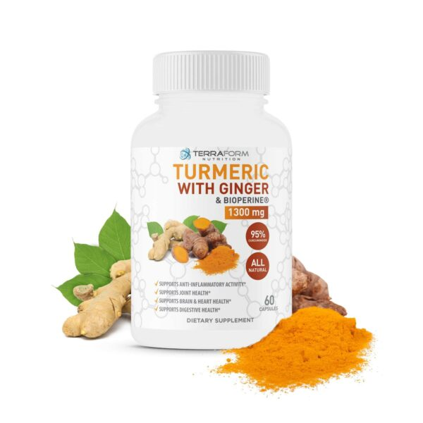 Turmeric Curcumin with Ginger & BioPerine - 60 Capsules - TerraForm Nutrition-3266