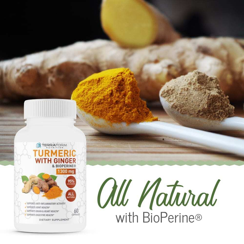 Turmeric Curcumin with Ginger & BioPerine - 60 Capsules - TerraForm Nutrition-3273