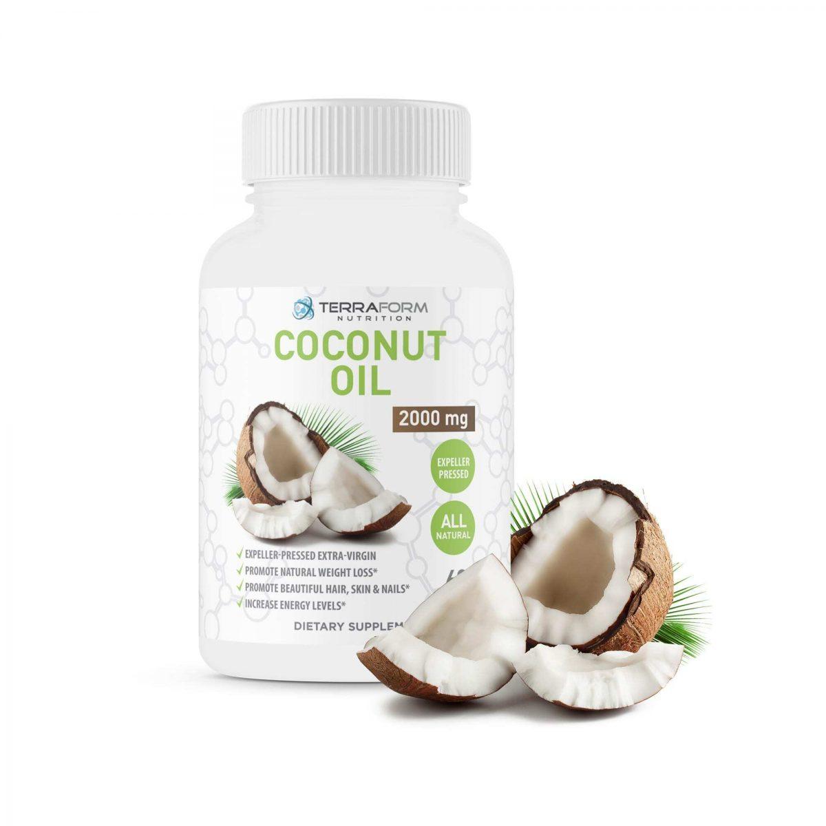 Coconut Oil Capsules - Extra Virgin Expeller-Pressed – 2000mg – 60 Softgels - TerraForm Nutrition-3289