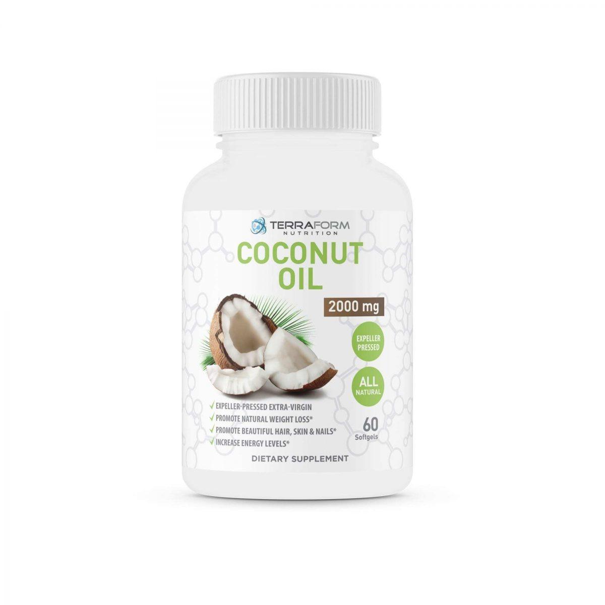 Coconut Oil Capsules - Extra Virgin Expeller-Pressed – 2000mg – 60 Softgels - TerraForm Nutrition-0