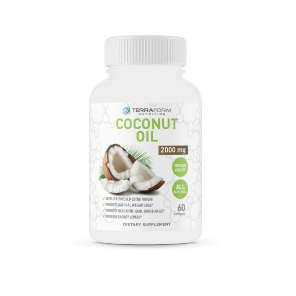 Coconut Oil Capsules - Extra Virgin Expeller-Pressed – 2000mg – 60 Softgels - TerraForm Nutrition-0