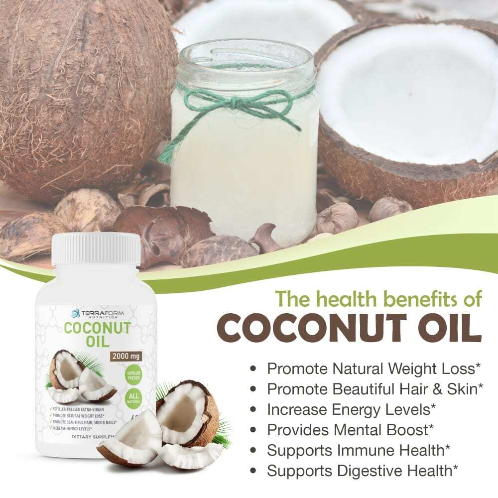 Coconut Oil Capsules - Extra Virgin Expeller-Pressed – 2000mg – 60 Softgels - TerraForm Nutrition-3293