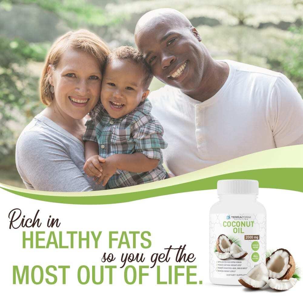 Coconut Oil Capsules - Extra Virgin Expeller-Pressed – 2000mg – 60 Softgels - TerraForm Nutrition-3295
